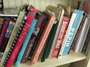 My library of cookbooks, some of them still virgins.
