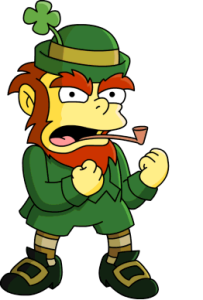 This Simpsons leprechaun is spoiling for a fight...this was once the story of my life on St. Patty's Day.
